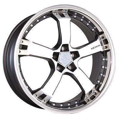 Keskin Kt10 Black matt front polished steel lip 9.5Jx18 5x100 ET25